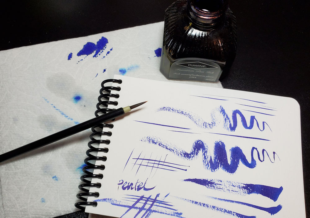 2 - Pentel Menso brush strokes - Diamine Sargasso Sea