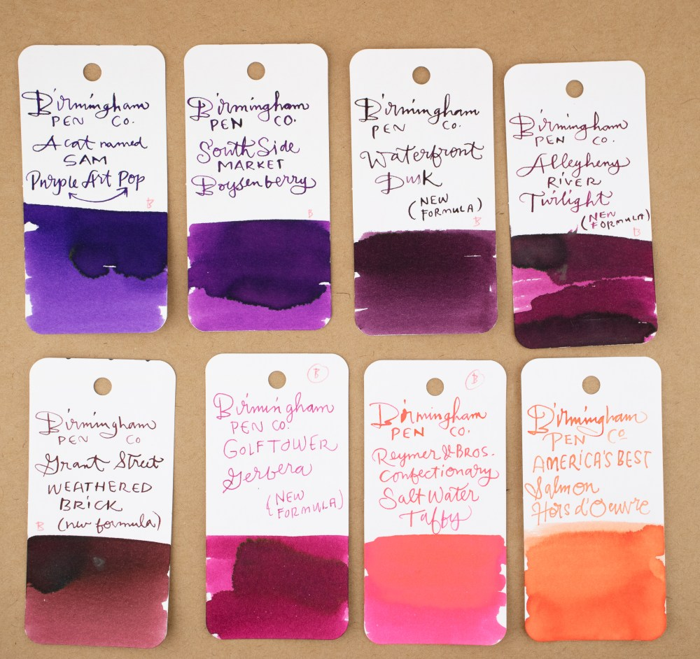 Bham Pen Co swatches - reds, oranges and purple