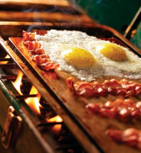 Bacon & Eggs on Old Camp Stove-Photographed on Hasselblad H3D-39mb Camera
