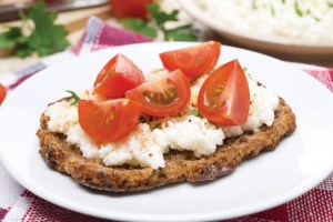 sandwich with homemade cottage cheese, pepper and cherry tomatoe