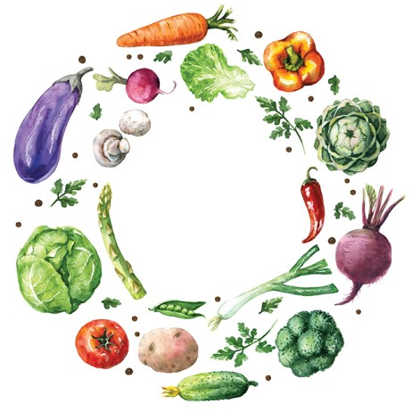 Various Vegetables Round Frame