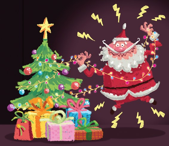 Cartoon Santa Claus having an electric shock accident at christmas