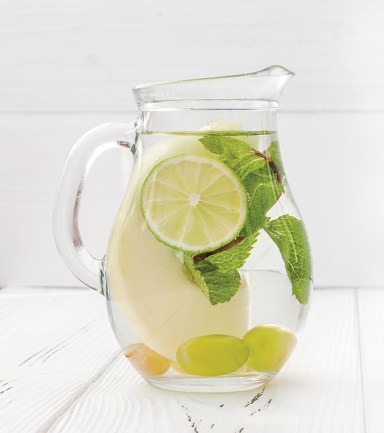 Lime and mint cocktail. Detox fruit infused flavored water