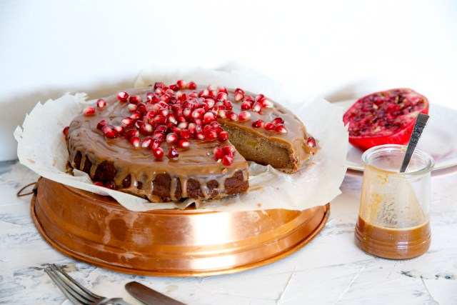 Gluten free cinnamon cake with butternut squash, lucuma and pomegranate