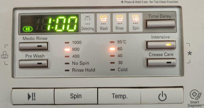 Front Loading Washing Machine set to 60 degree Celsius.