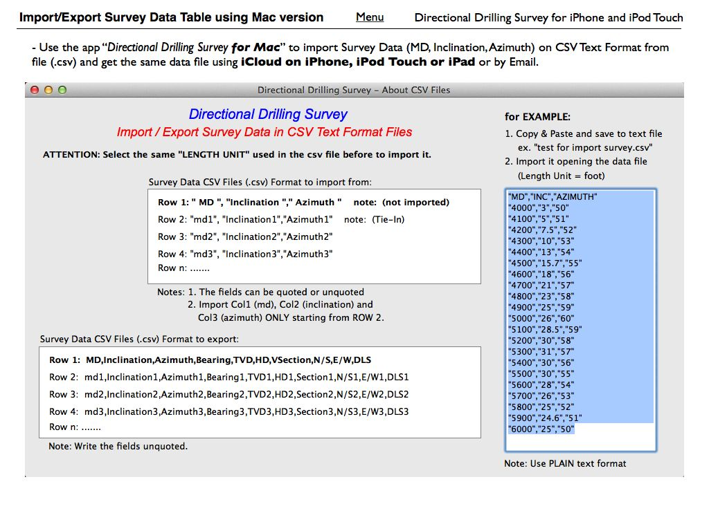 Directional Drilling Survey for iPhone and iPod Touch - User Guide