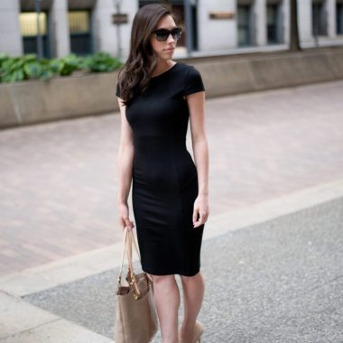 Felicity & Coco LBD | Wellesley & King | Felicity & Coco Petite Black Pencil Dress featured by top Pittsburgh fashion blog, Wellesley & King: image of a woman wearing a Felicity & Coco black dress, Kate Spade pumps and Kate Spade sunglasses