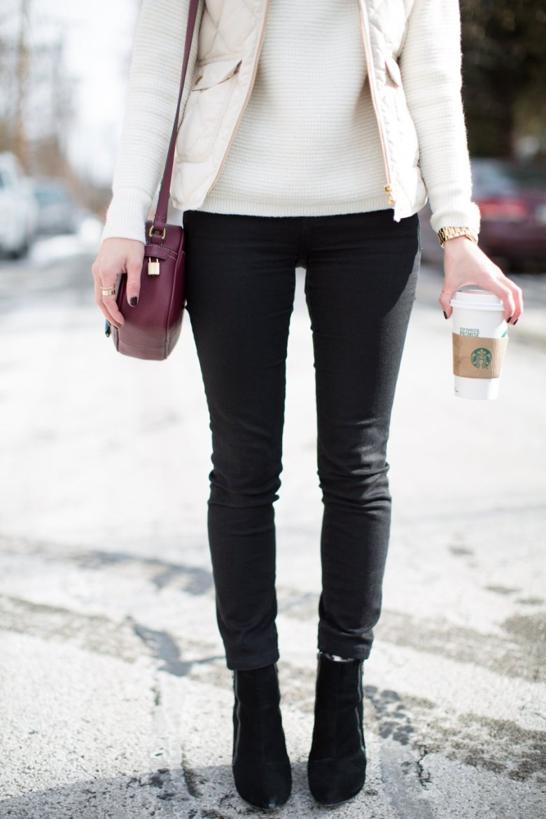 chic winter outfit madewell jeans