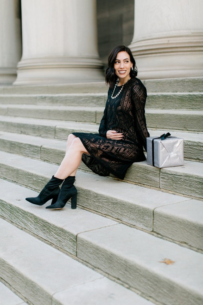 A Pea in the Pod | Style | A Maternity-Friendly Holiday Cocktail Dress featured by top Pittsburgh fashion blog Wellesley & King