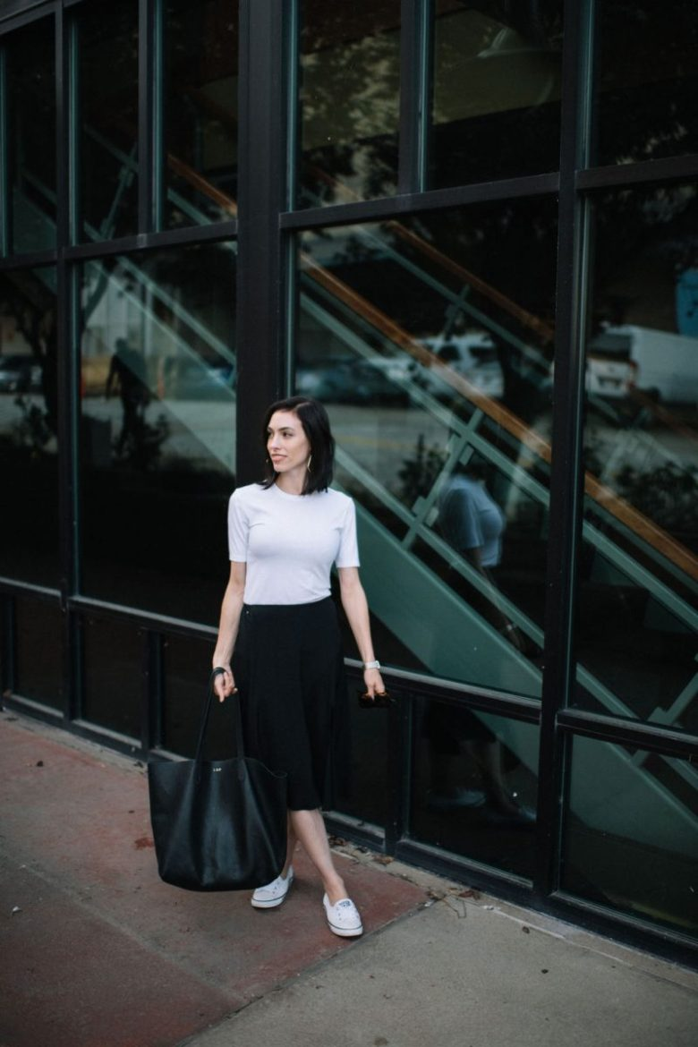 Top US lifestyle blogger, Wellesley & King, highlights the sustainable fashion brand Cuyana: sustainable fashion, ethical fashion brand, Cuyana, white tshirt, silk skirt, leather tote