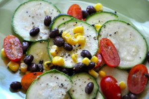 Recipe: Zucchini Corn & Black Bean Salad w/Lime Flax Dressing