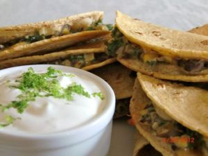 Kale, Black Bean, and Corn Moons with Lime Cream Dip