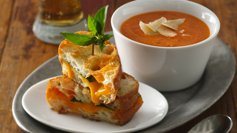 grilled cheese sandwich with creamy tomato soup