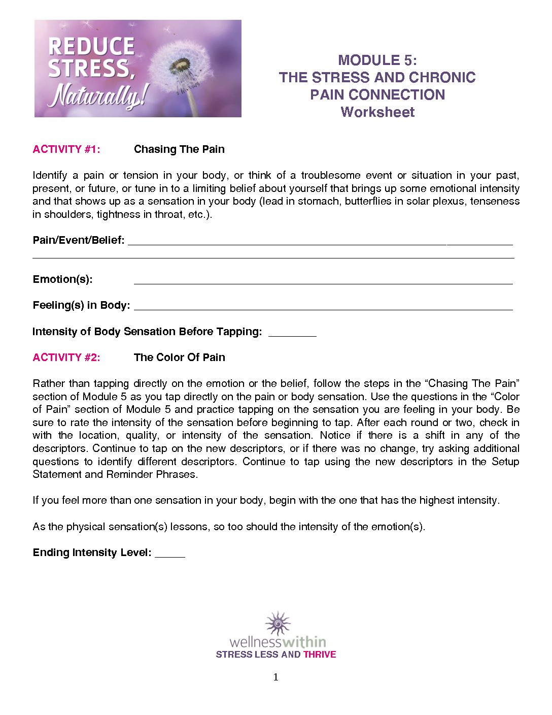 MODULE 5 WORKSHEETS - Wellness Within