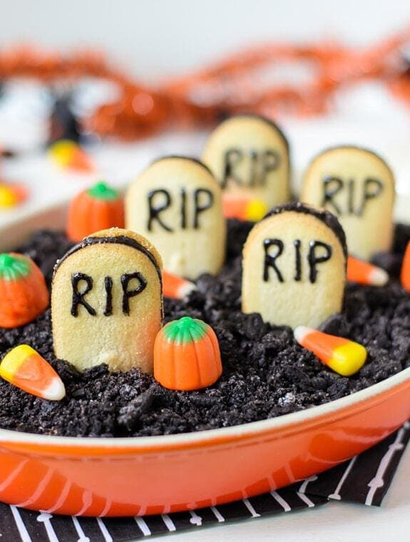 Graveyard Cheesecake Dip, by Well Plated