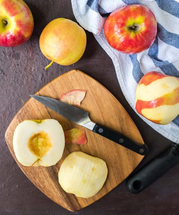 Easy Hasselback Apples with Cinnamon Streusel. A healthy fall dessert that families love!