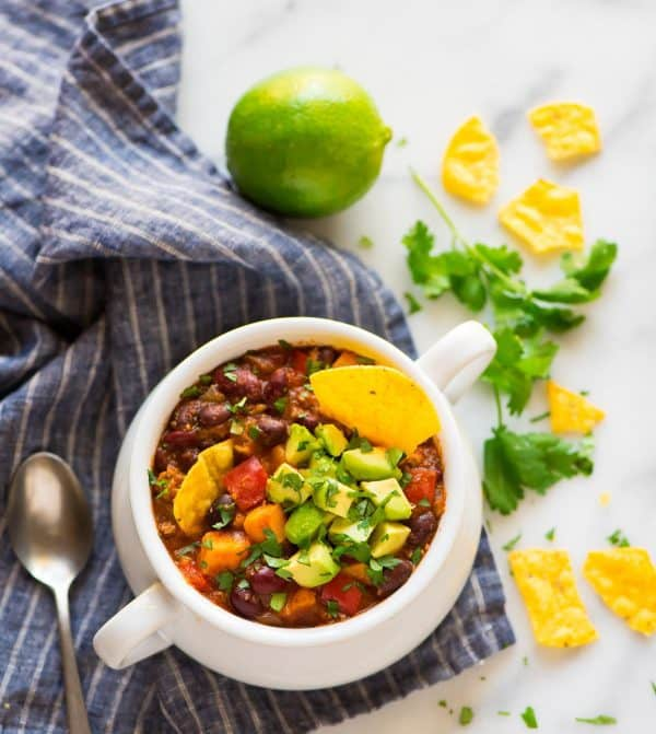 Instant Pot Turkey Chili with Sweet Potatoes and Black Beans. Easy, healthy, and gluten free! A delicious low carb recipe.
