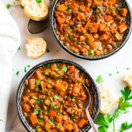 Two bowls of healthy lentil soup