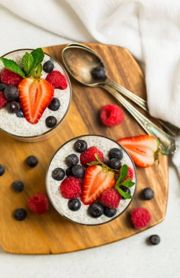 Chia seed pudding made with coconut milk