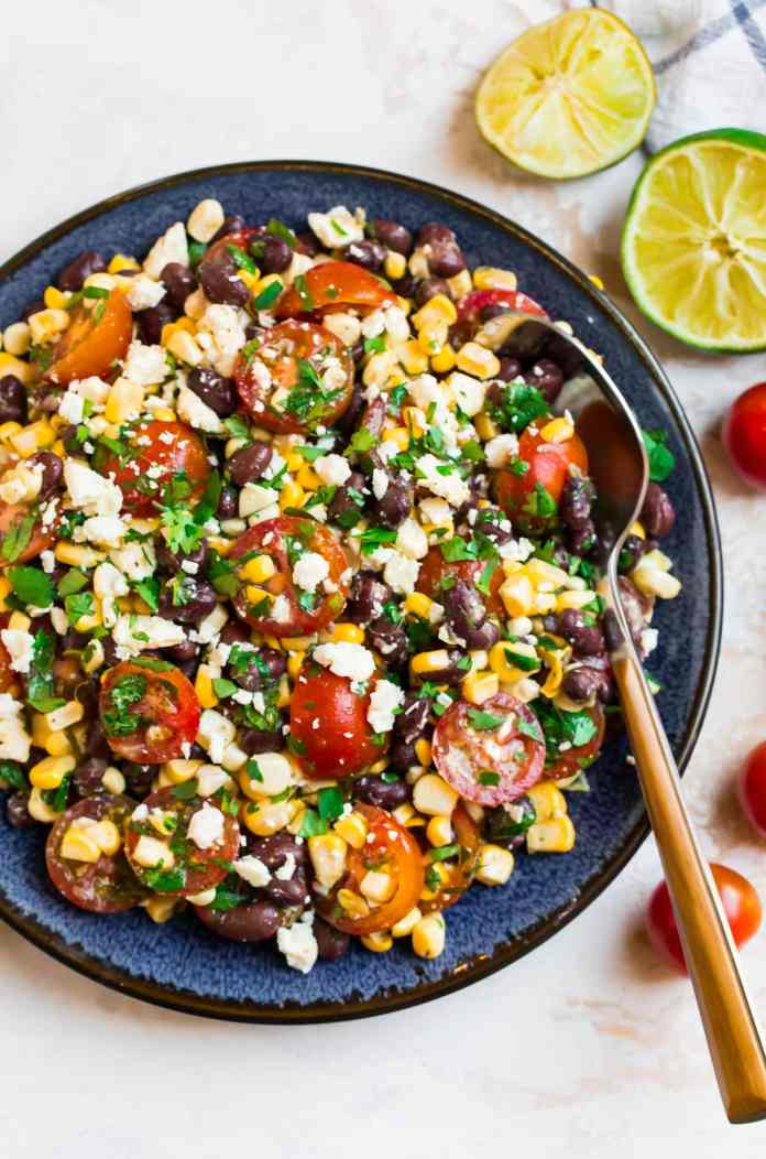 Corn and black bean salad with feta on a plate