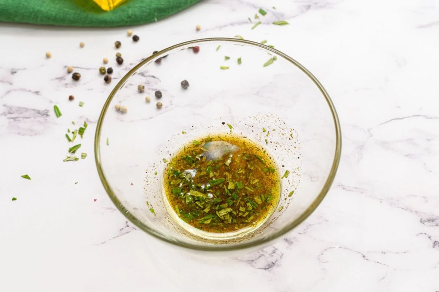 Oil and seasoning in a bowl