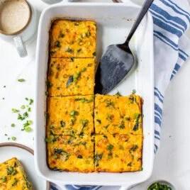 Healthy breakfast casserole in a baking dish