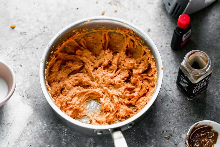 Mashed sweet potatoes in a pot
