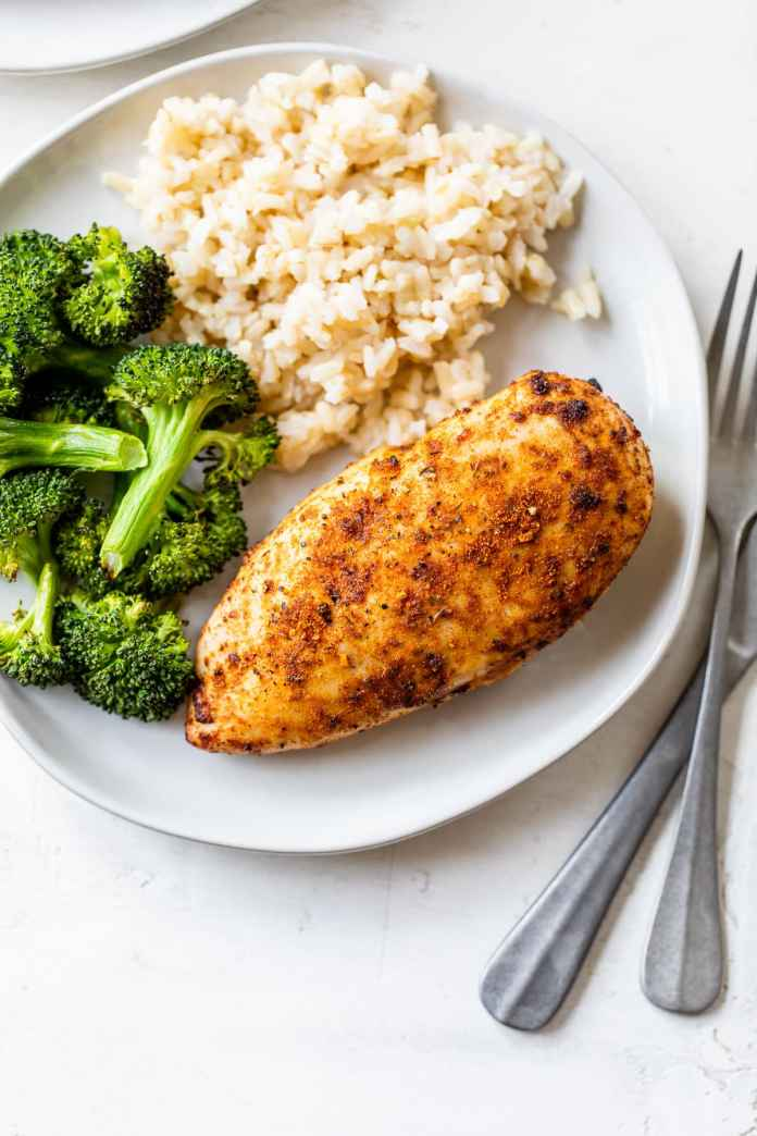 Air fryer chicken breast with rice and broccoli