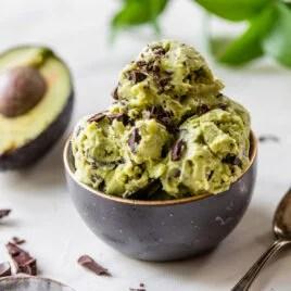 scoops of chocolate avocado ice cream