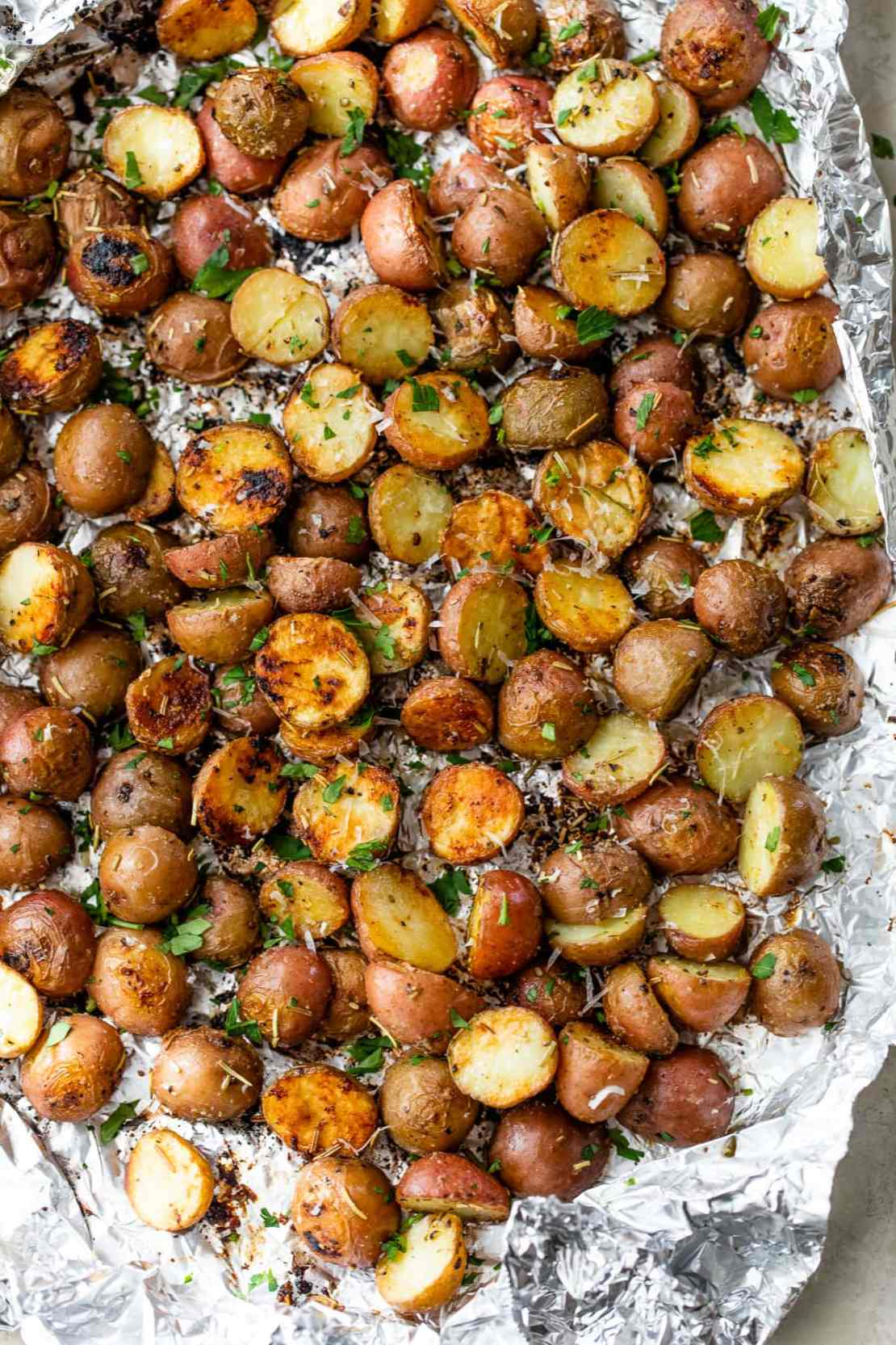 crispy grilled potatoes in foil