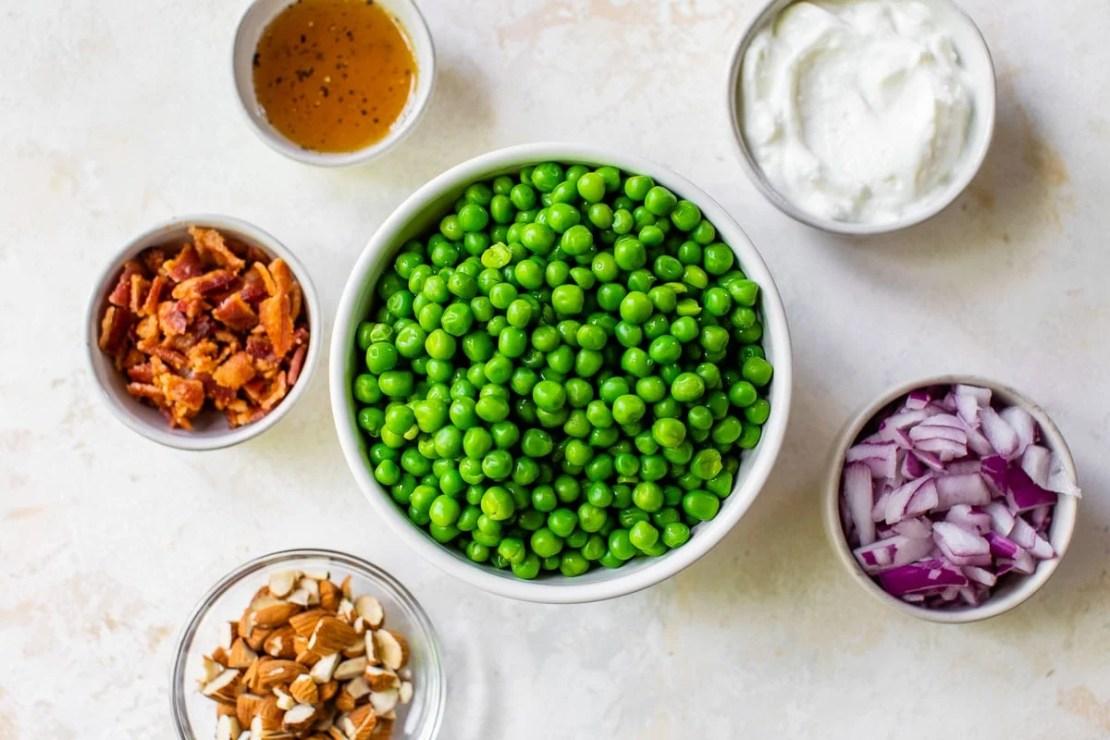 healthy pea salad ingredients in bowls