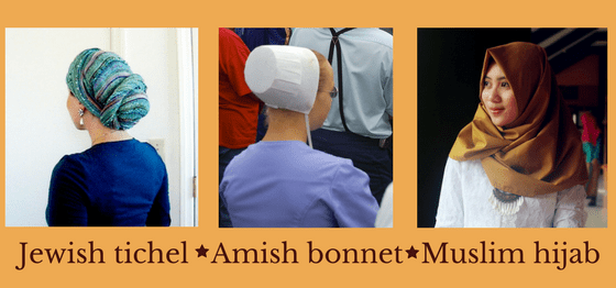 Head coverings from the Jewish, Amish, and Muslim cultures