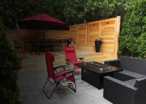 Landscaping Oakville Burlington wooden fence with with deck