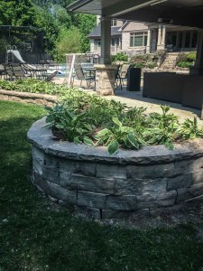 landscape Burlington backyard stone garden