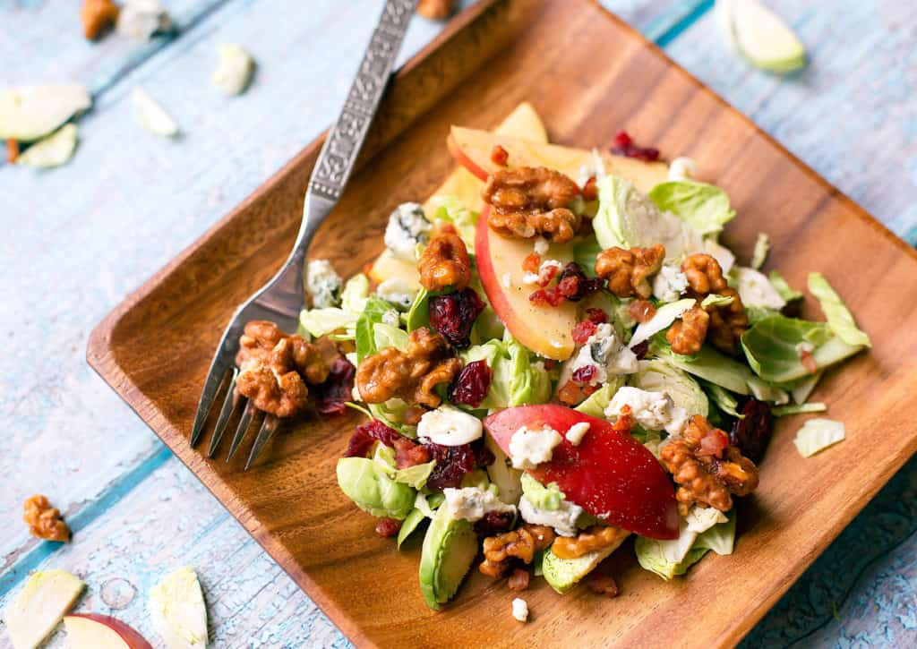 Brussels sprouts salad with gorgonzola, apples, candied walnuts, and pancetta