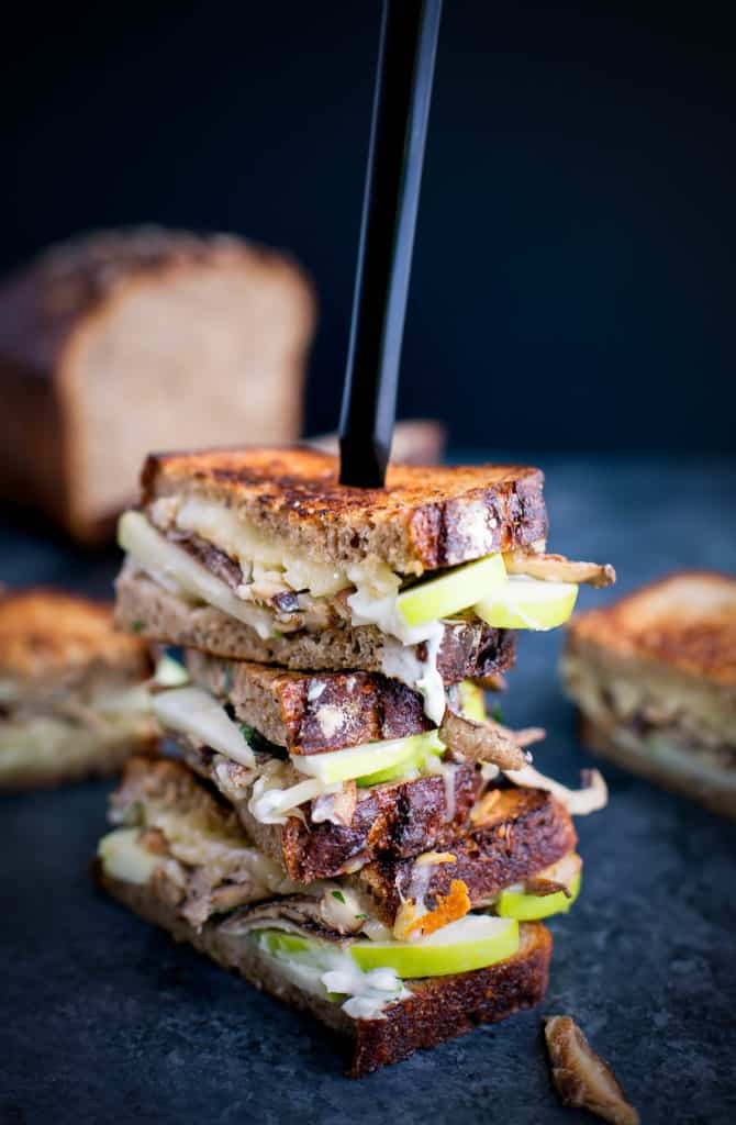 Sautéed mushroom grilled cheese with fontina, apples, and tarragon mayo