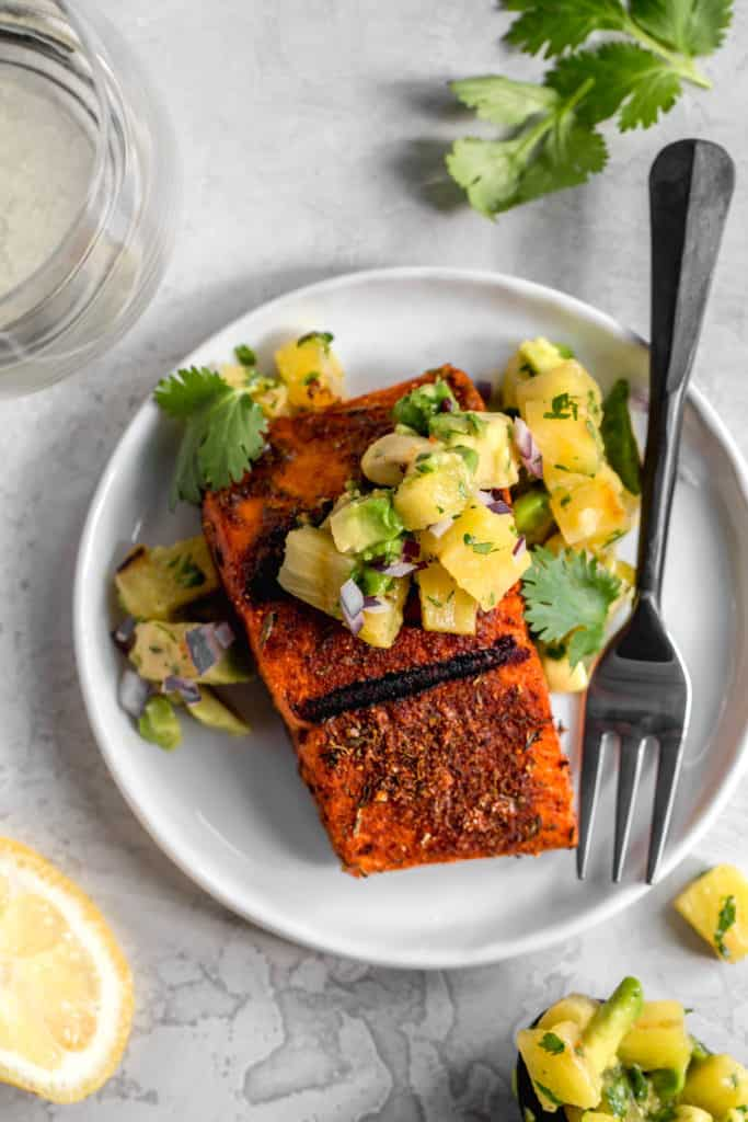 Blackened Salmon with Grilled Pineapple-Avocado Salsa