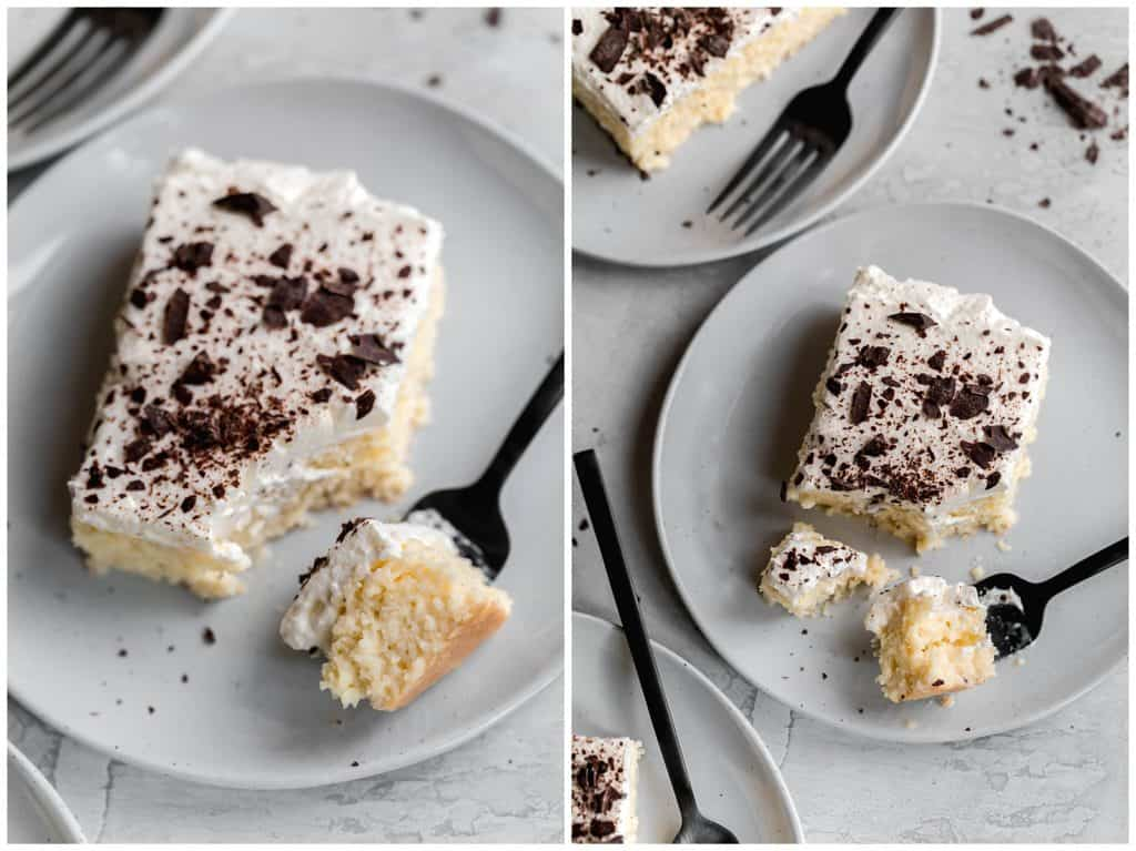 tres leches cake with shaved chocolate