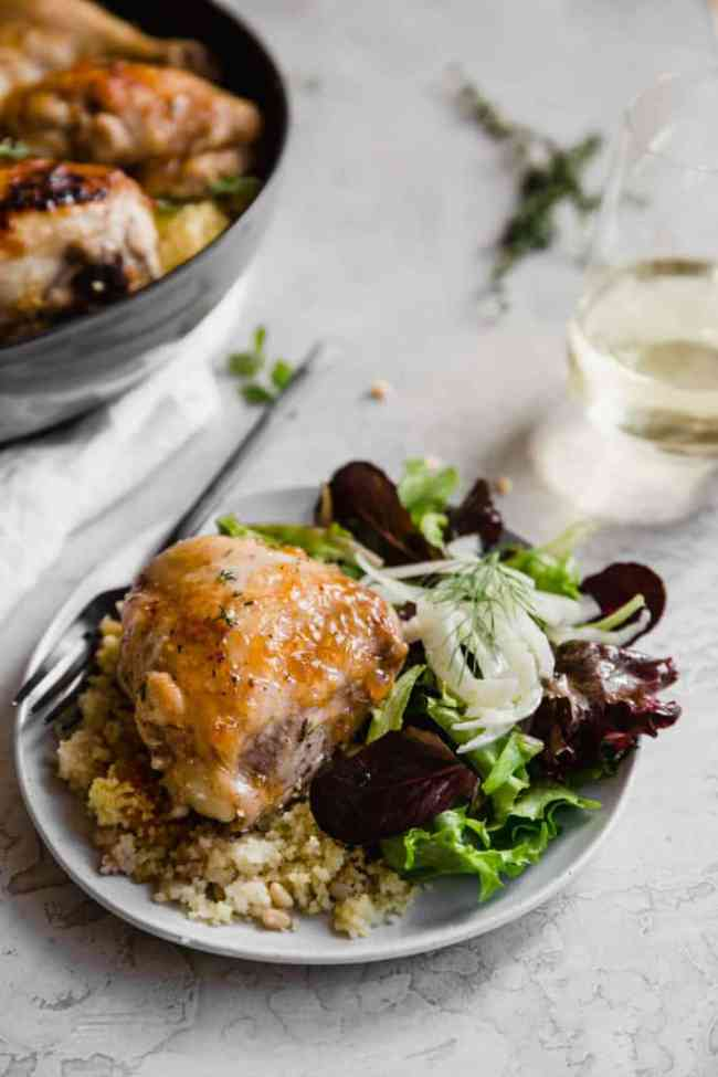 roasted apricot glazed chicken with couscous!