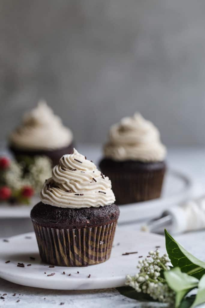 Chocolate cupcakes with espresso buttercream