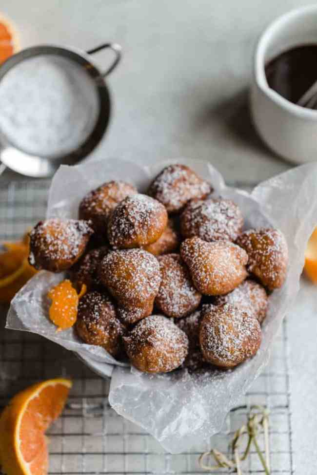 ricotta fritters with cara cara chocolate sauce!