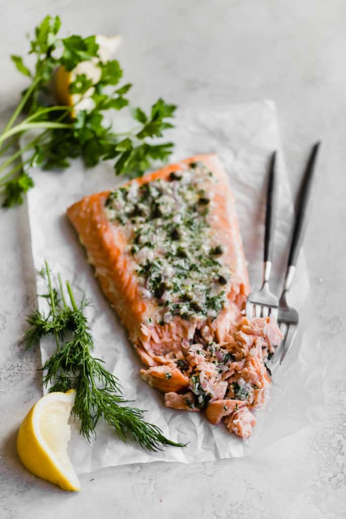 slow baked salmon with herb shallot compound butter!