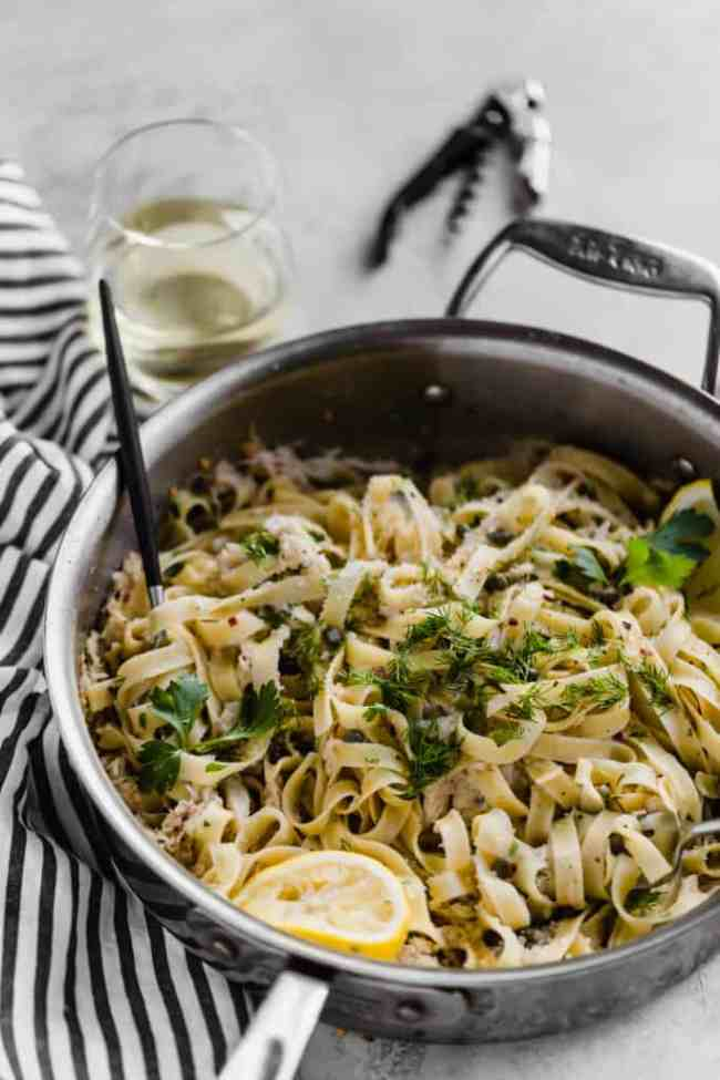 spicy tagliatelle with crab, lemon, and capers!