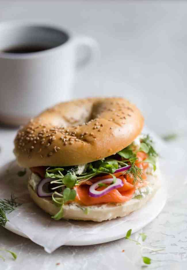 perfect bagel and lox breakfast sandwich