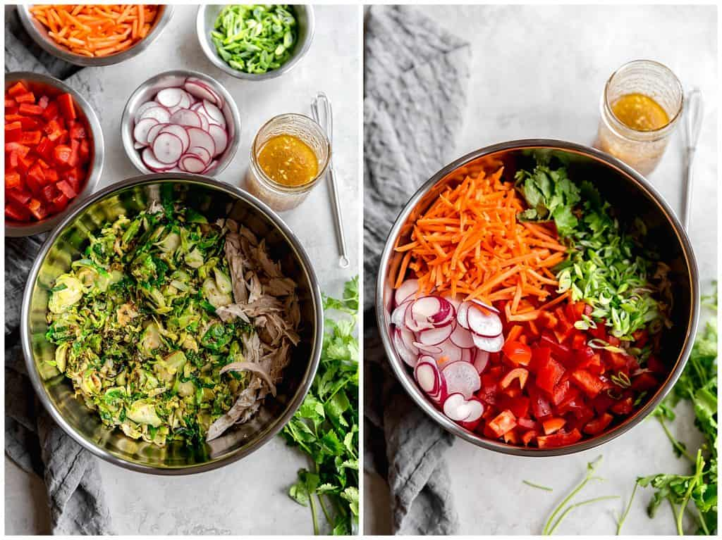 healthy brussels sprout slaw with asian sesame vinaigrette