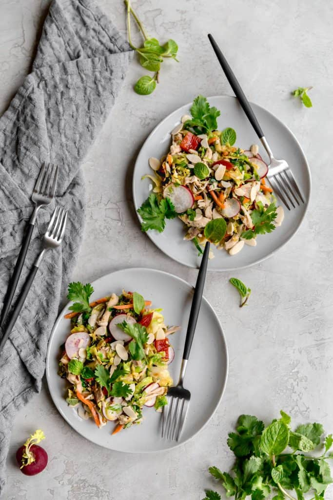 lunch made EASY! warm brussels sprout slaw with asian sesame vinagirette!