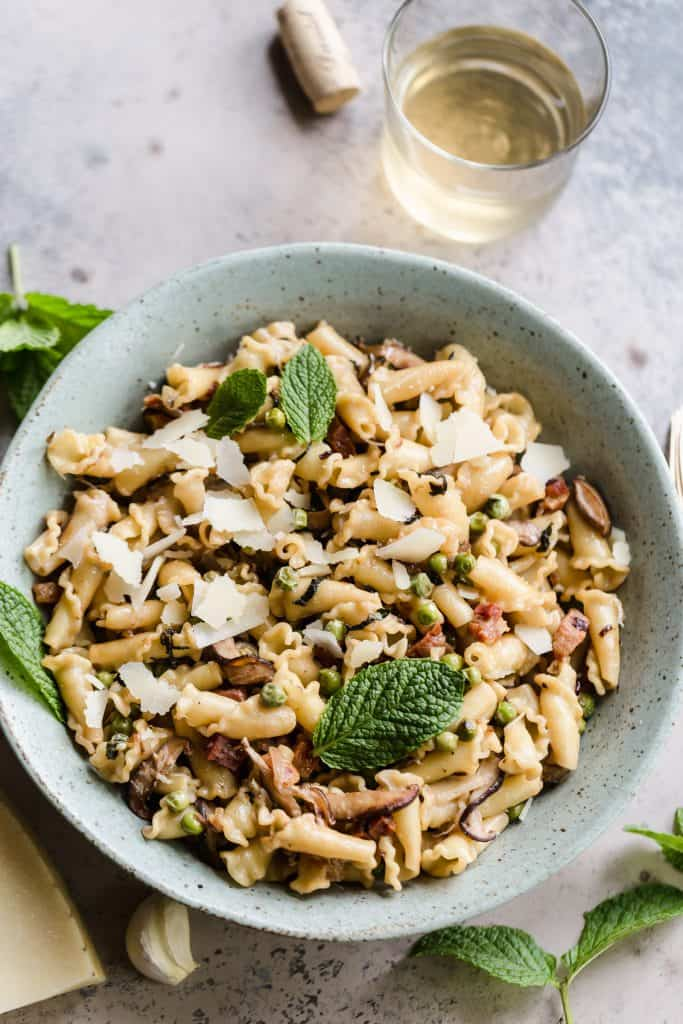 Weeknight Pasta with Pancetta, Peas, and Mint