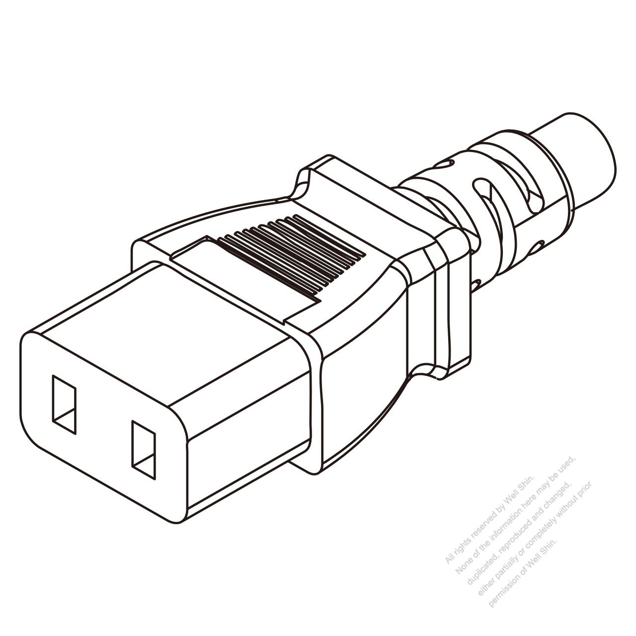 Iec 320 C9 Connectors 2 Pin Straight 6a 250v