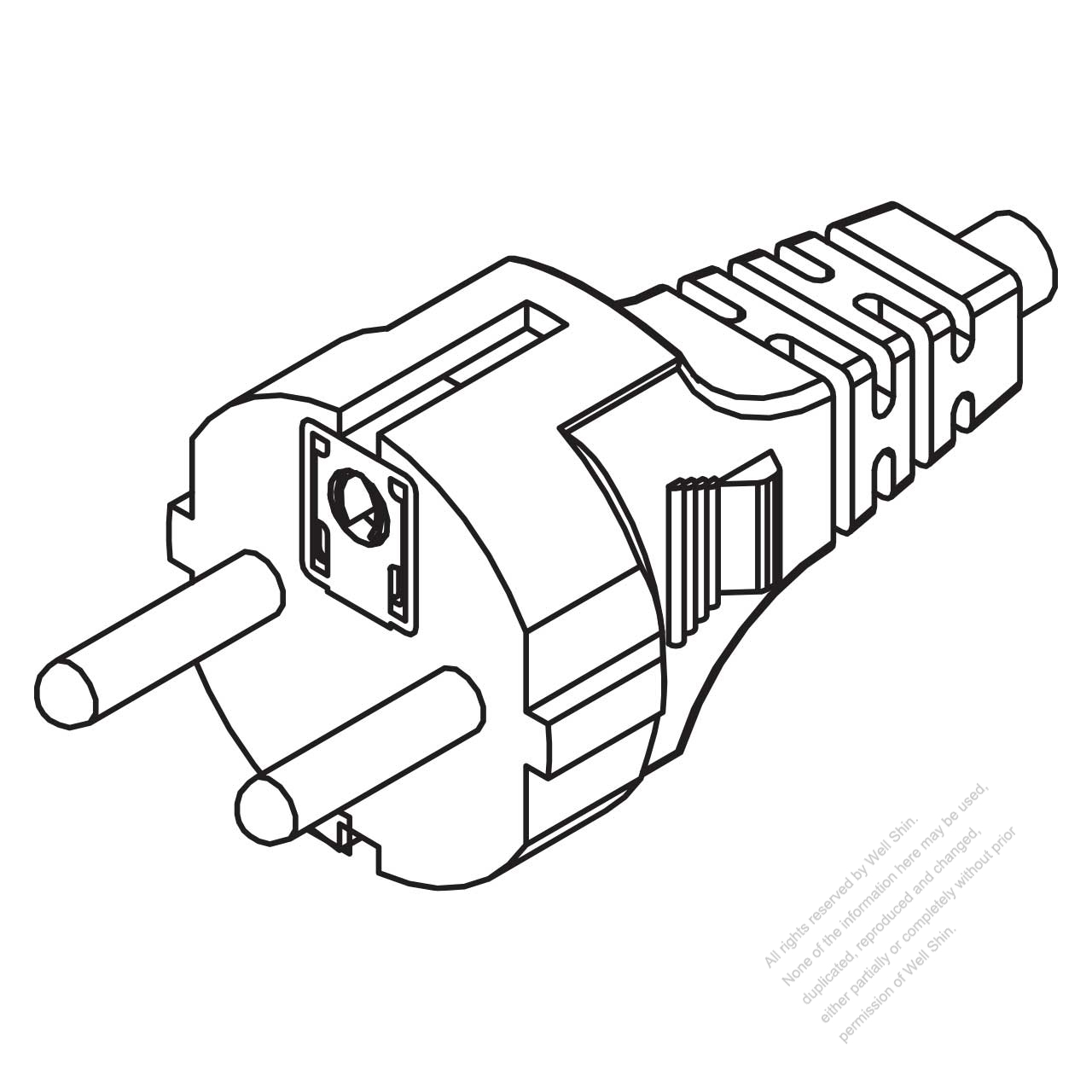 Switzerland 3 Pin Straight Ac Plug 10 16a 250v