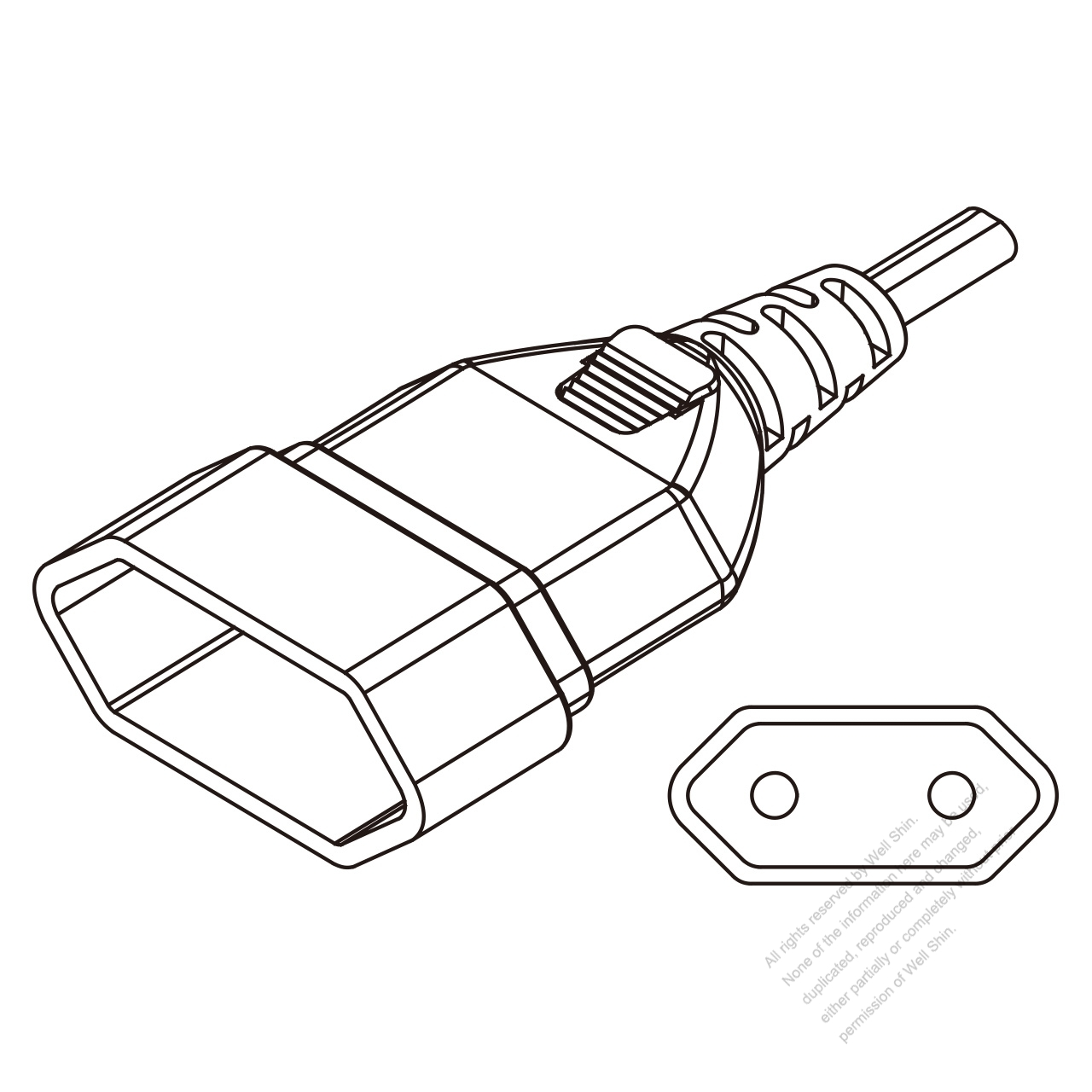 Europe Ac Connector 2 Pin 2 5a 250v